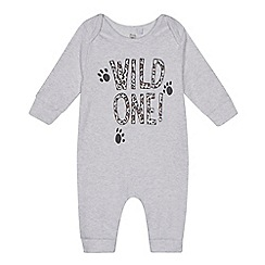 bluezoo - Baby grey 'Wild One' print sleepsuit