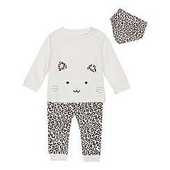 bluezoo - Babies' multicoloured cat applique t-shirt, leggings and bib set