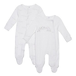 bluezoo - 2 pack white elephant embroidered sleepsuits