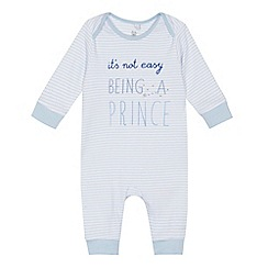bluezoo - Baby boys' blue striped 'Being a prince' sleepsuit