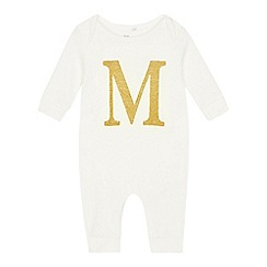 bluezoo - Babies' gold 'M' cotton sleepsuit