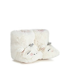 bluezoo - Babies' white faux fur unicorn bootie slippers