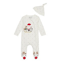 bluezoo - Babies' white Christmas applique sleepsuit with a hat
