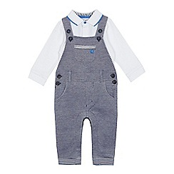 J by Jasper Conran - 'Baby boys' navy dungarees and white polo bodysuit set