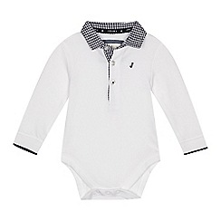 J by Jasper Conran - 'Baby boys' white gingham collar polo bodysuit