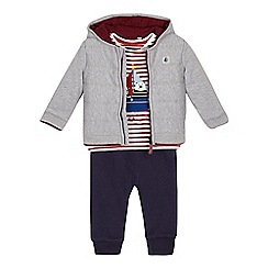 J by Jasper Conran - Baby boys' grey jacket, striped top and navy jogging bottoms set