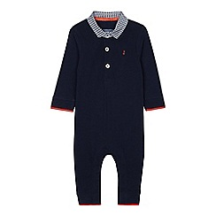 J by Jasper Conran - Baby boys' navy gingham trim romper suit