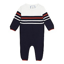 J by Jasper Conran - 'Baby boys' navy striped knitted romper