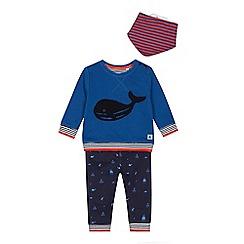 J by Jasper Conran - Babies' navy whale applique top, bottoms and bib set