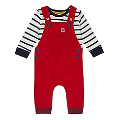 J by Jasper Conran - Baby girls' red cord dungarees and top set