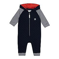 J by Jasper Conran - Baby boys' navy quilted romper suit