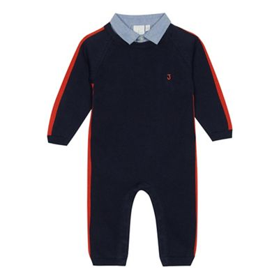 J By Jasper Conran   Boys' Navy Knitted Collar Trim Romper Suit by J By Jasper Conran