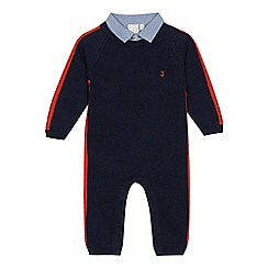 J by Jasper Conran - Boys' navy knitted collar trim romper suit