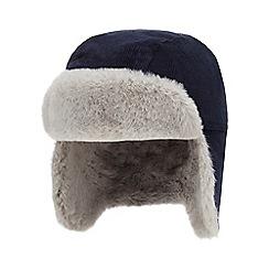 J by Jasper Conran - Babies' navy cord trapper hat