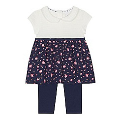 J by Jasper Conran - 'Baby girls' navy textured tunic and leggings set