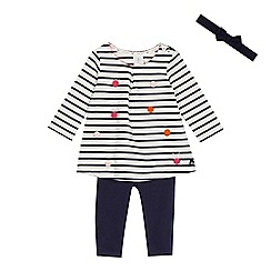 J by Jasper Conran - Baby girls' white striped top, navy leggings and headband set