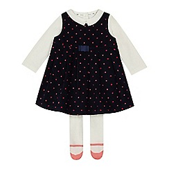 J by Jasper Conran - Baby girls' navy spotted cord pinny, top and tights set