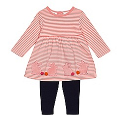J by Jasper Conran - Baby girls' pink striped tunic and navy leggings set