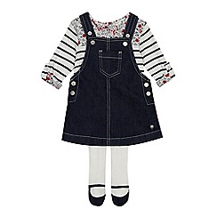 J by Jasper Conran - Baby girls' navy denim pinafore striped top and tights set