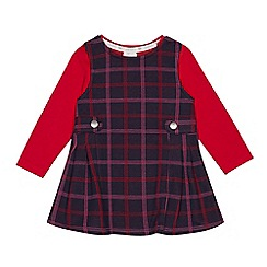 J by Jasper Conran - Baby girls' navy checked pinny and top set