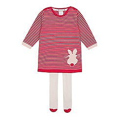 J by Jasper Conran - Baby Girls' Pink Bunny Knit Dress and Tights Set