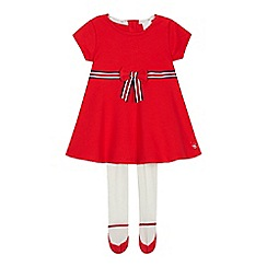 J by Jasper Conran - Baby Girls' Red Bow Detail Ponte Skater Dress with Tights