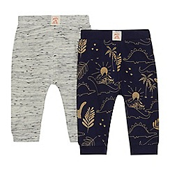Mantaray - 2 pack baby boys' navy and grey printed jogging bottoms