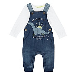 Mantaray - Baby boys' white bodysuit and blue denim dinosaur applique dungarees set