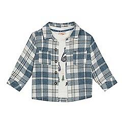 Mantaray - Baby boys' blue checked shirt and white racoon applique top set