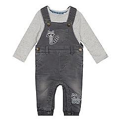 Mantaray - Babies' grey raccoon denim dungarees and bodysuit