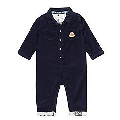 Mantaray - Babies' navy 'racoon' corduroy shirt romper suit