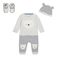 Mantaray - Babies Grey Bear Applique Top, Jogging Bottoms, Booties and Hat Set
