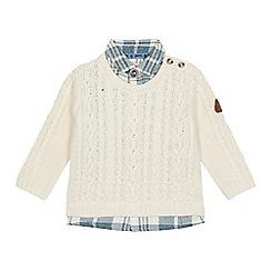 Mantaray - Baby boys' cream cable knit mock shirt jumper