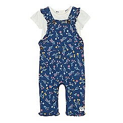 Mantaray - 'Baby girls' navy floral print dungarees and cream t-shirt set