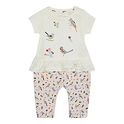 Mantaray - Baby girls' white bird applique short sleeve top and pink leggings set