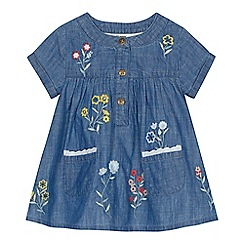 Mantaray - 'Baby girls' light blue floral embroidered tunic