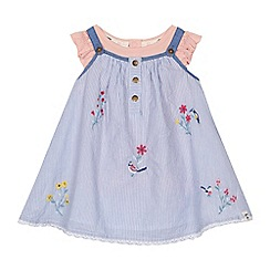 Mantaray - 'Baby girls' light blue striped pinny and top set