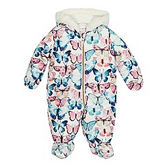 Mantaray - Baby girls' multi-coloured butterfly print snowsuit