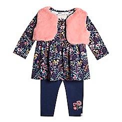 Mantaray - Baby girls' multicoloured floral print gilet, dress and leggings set