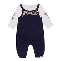 Mantaray - Baby girls' navy corduroy floral embroidered dungarees and white top set