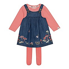 Mantaray - Baby girls' navy woodland embroidered pinny, top and tights set