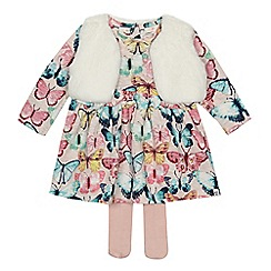 Mantaray - Baby girls' pink butterfly print jersey dress and gilet set