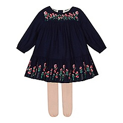 Mantaray - Baby girls' pink floral embroidered dress with tights