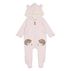 Mantaray - Babies' pink hedgehog applique snugglesuit