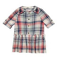 Mantaray - Baby girls' multicoloured check print cotton blend dress