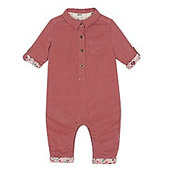 Mantaray - Babies' pink cord shirt romper suit