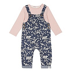 Mantaray - Babies' blue printed dungarees and top set