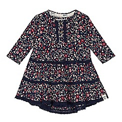 Mantaray - Baby girls' navy floral print jersey dress