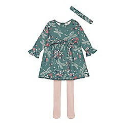Mantaray - Baby girls' green dragonfly dress, headband and tights set
