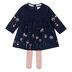 Mantaray - Baby girls' navy corduroy dress and tights set